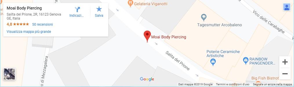 Clicca per le indicazioni: Moai Body Piercing - Jonathan 347.0661852 - Salita del Prione 2r - 16123 Genova